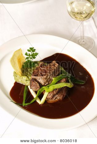 fillet steak and wine