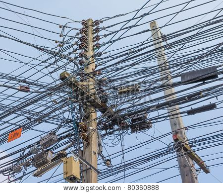 Image Of Busy Line On Electric Pole