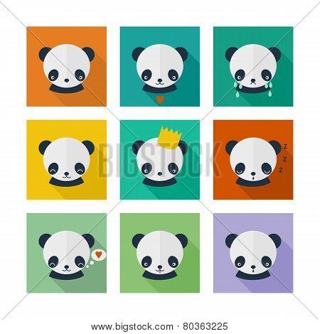 Panda Vector Icons Set In Flat Design
