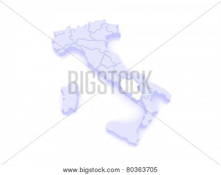 Map of Campaign. Italy. 3d
