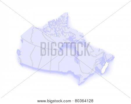 Map of Nova Scotia. Canada. 3d