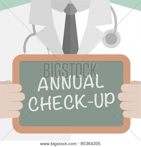 minimalistic illustration of a doctor holding a blackboard with annual check-up text, eps10 vector