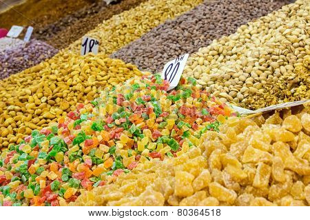 Assortment Of Candied Fruits And Nuts In Morocco