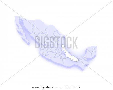 Map of Veracruz. Mexico. 3d