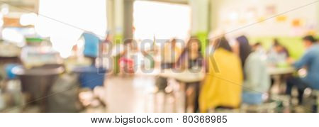 Restaurant Blur Background With Bokeh Image