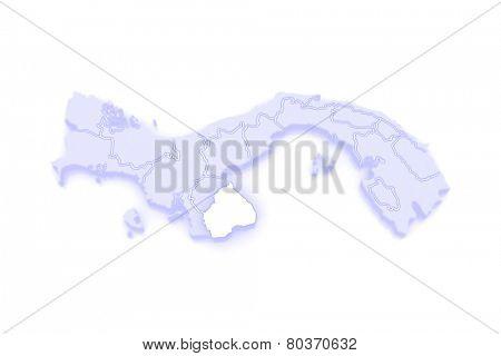 Map of Los Santos. Panama. 3d