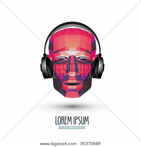 DJ vector logo design template. music or headphones icon.