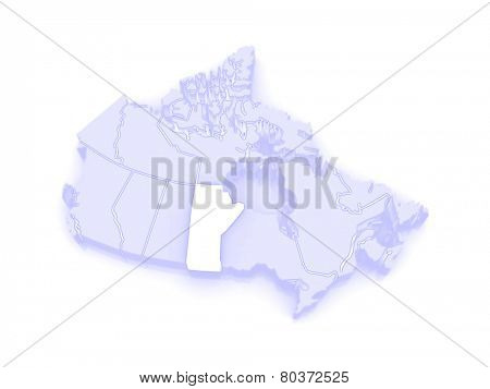 Map of Manitoba. Canada. 3d