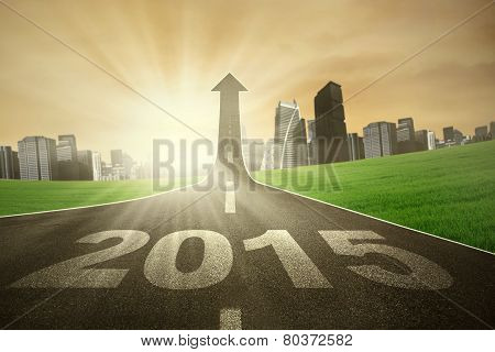 Road With Number 2015 Rise Upward