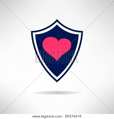 Heart and love shield icon. Health defence concept. Vector illustration