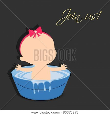 Cute cartoon of a baby bathing in water tub with stylish text of Join Us on black background.