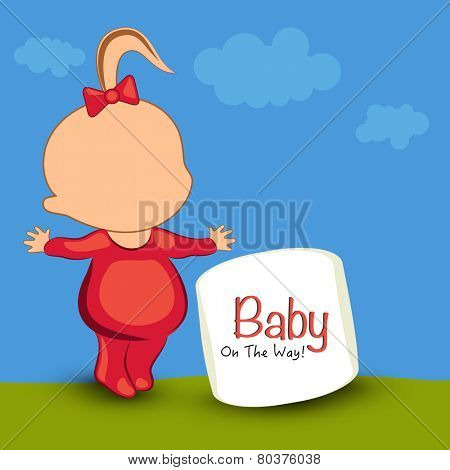 Cute cartoon of a kid extending arms and stylish text of baby on the way on nature view background.