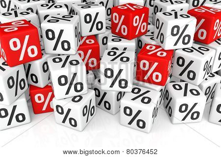 Stack Of Cube With Percent Sign (sales Or Finance Concept)