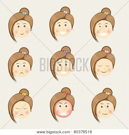 Face of a young girl cartoon with different facial expressions