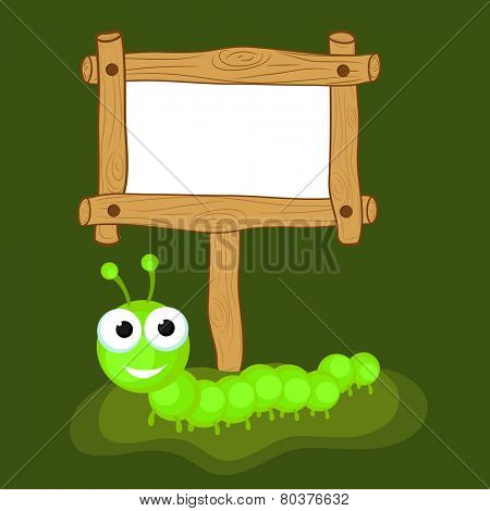 Funny cute cartoon of a centipede in green color with blank wooden board over green background.