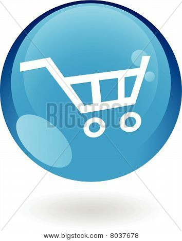 blau Einkaufswagen-Symbol