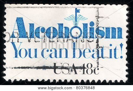 Alcoholism - You Can Beat It! Usa Post Stamp 1981