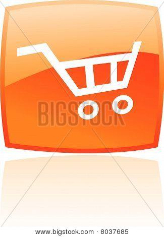 glossy orange Einkaufswagen-Symbol