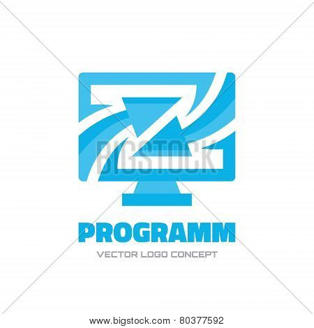 Program - vector logo concept illustration. Computer monitor and arrows - abstract logo illustration