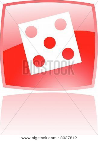 Glossy red dice icon