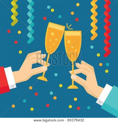 Holiday vector concept illustration in flat style. Human hands with glasses with champagne, streamer