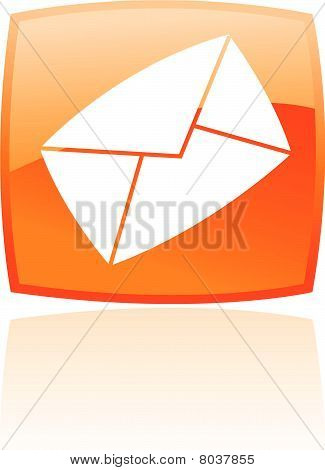 Glossy orange envelope icon