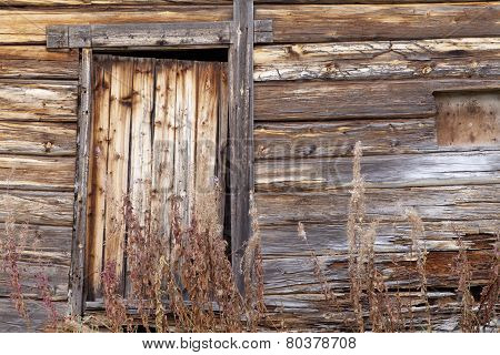 Old wooden building in close up.