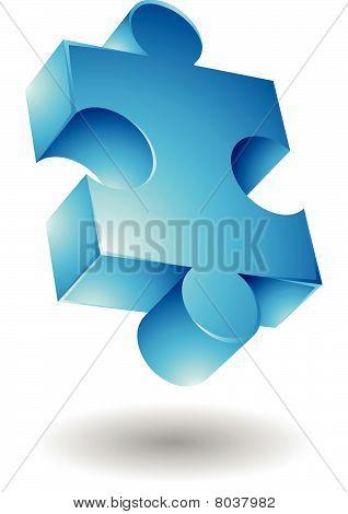 Glossy blue jigsaw icon
