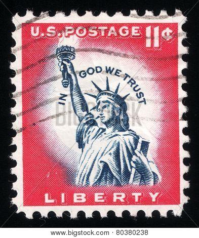 Statue Of Liberty. Usa Post Stamp, 1961