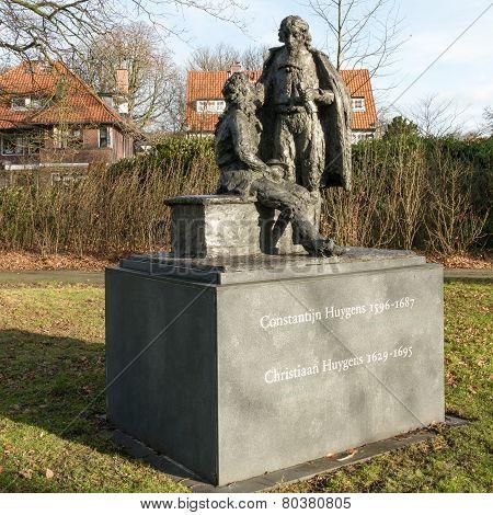 NETHERLANDS - VOORBURG - CIRCA DECEMBER 2014: Statue of Constantijn and Christiaan Huygens.