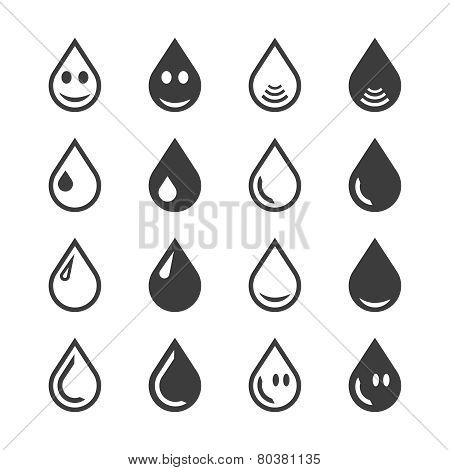 Vector Black Nd White Water Or Oil Drop Set On Isolated Background