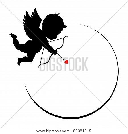 round decorative frame with Cupid
