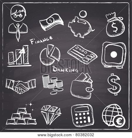 Chalkboard style  finance and banking icons