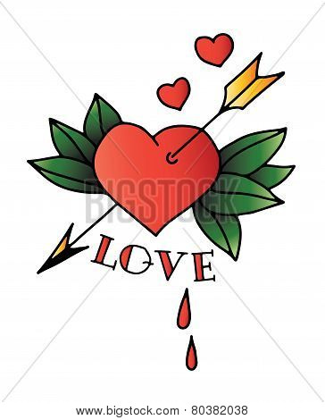 Hand drawn tattoo heart with arrow and leaves