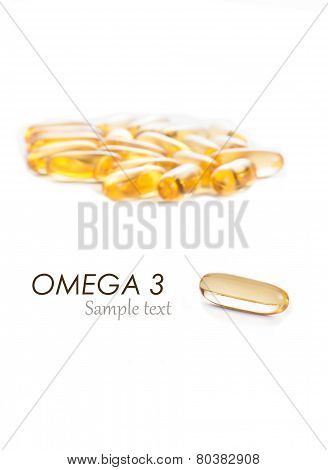 Omega 3 capsules with sample text on white background