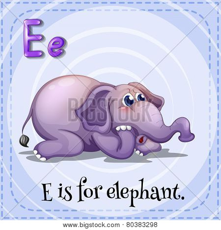 Illustration of a letter e is for elephant