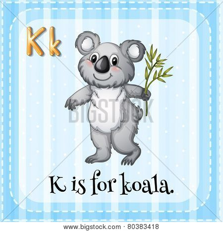 Illustration of a letter K is for koala