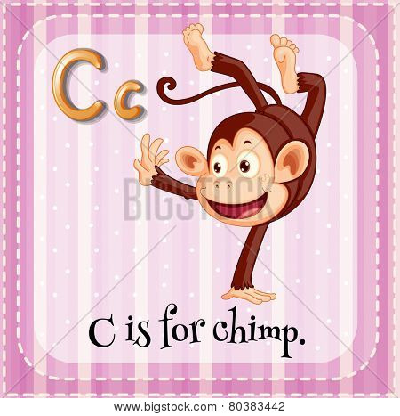 Illustration of a letter C is for chimp