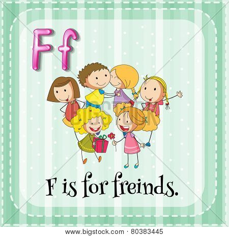 Illustration of a letter F is for friends
