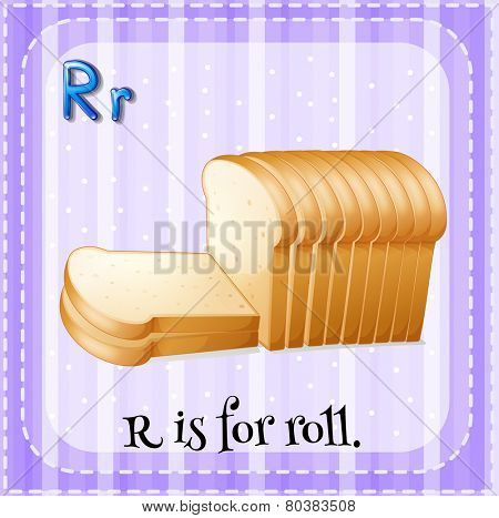 Illustration of a letter R is for roll