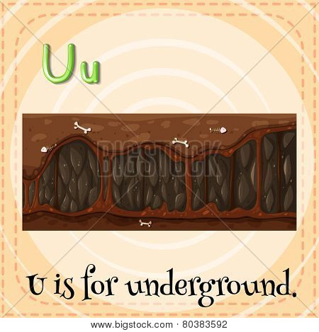 Illustration of a letter U is for underground