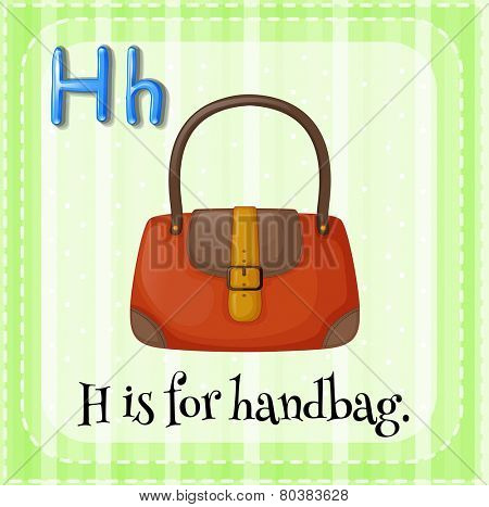 Illustration of a letter H is for handbag