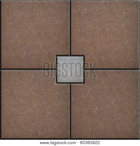 Brown and Gray Brick Pavers. Seamless Texture.
