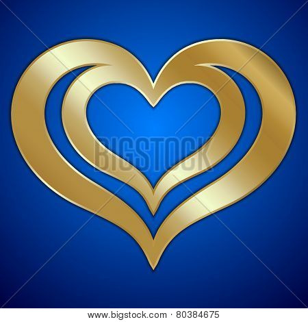 Vector abstract pair of golden hearts on blue background