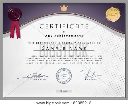 Vintage Certificate Template With Purple Border And Golden Elements On Dotted Paper In Vector