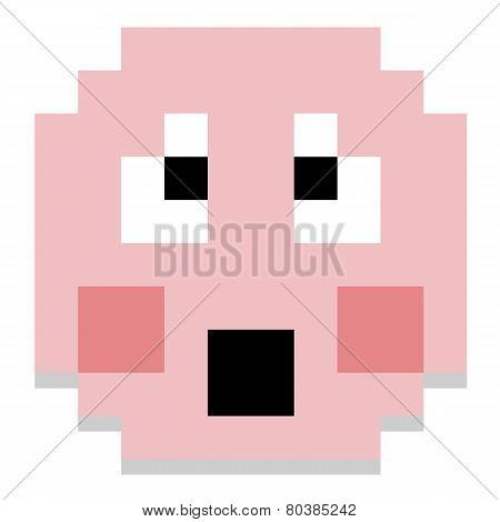 Vector Cute Cartoon Pixel Shy Face Isolated