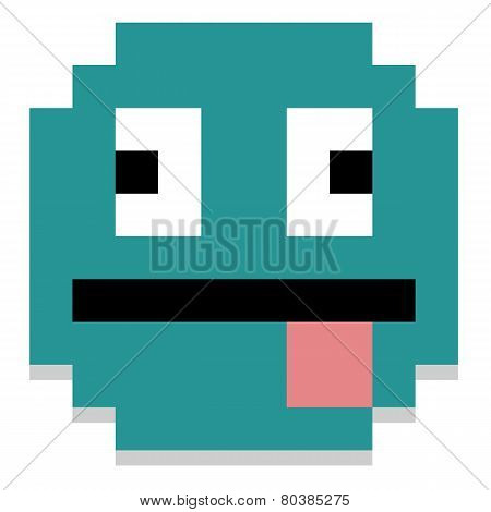 Vector Pixel Cartoon Face With Tongue Out