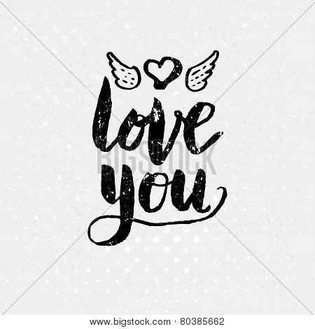 Black Love You Text on White Background