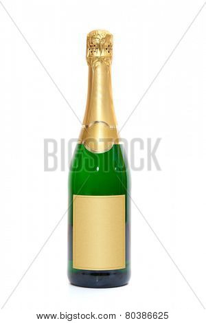 Blank champagne bottle. All on white background.