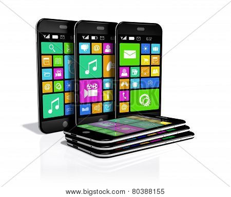 Six Smartphones With A Variety Of Software Applications.